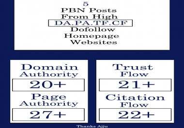 Do 5 PBN Post on PA 30+ websites