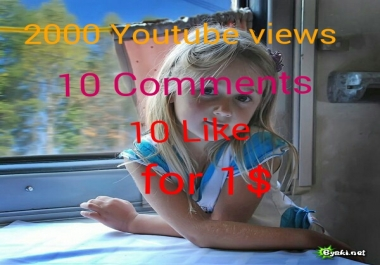 I will give you 1200+ youtube views+ 10 subscribers+ 10 youtube likes,+10 comments