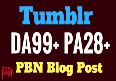 Rank Guarantee 20 Tumblr PBN Blog Post DA99+ PA28+