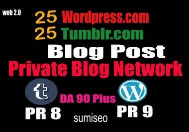 50 PBN _ Blog POSTs (Tumblr and WordPress) 90 High DA