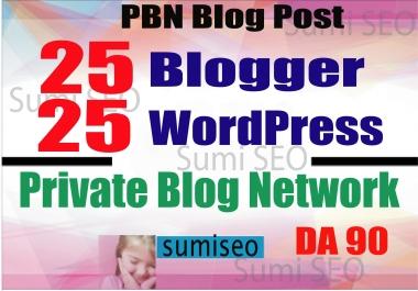 50 PBN _ Blog POSTs (Blogger and WordPress) 90 High DA