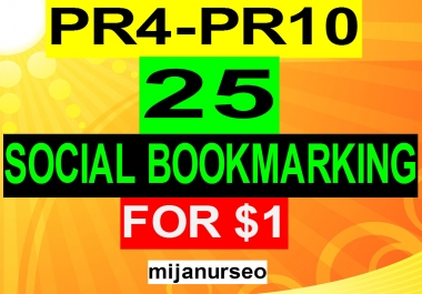Get 25 PR4-PR10 Social Bookmarking Within 24-48 Hours