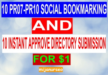Get 5 Instant Approve PR08-PR10 Social Bookmarking And 5 Directory Submission