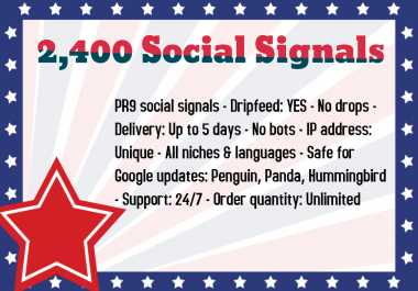 2,400 High Quality Social Signals from the Best Social Media Website