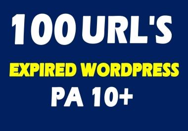 Provide 15-100 Expired Wordpress PA 10 plus