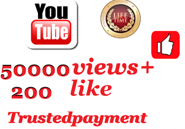 instant provide 50001 to 55003 youtube views + 200 youtube like 1-48   Hours  Delivery