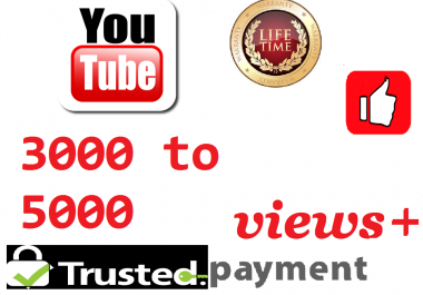 super Fast 3000 to 5000 video views +1 like    12 to 24 hours Delivery Time