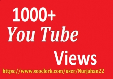 1000+ Real  Non Drop YouTube Views +100  YouTube Likes Bonus 12-24 Hours In Complete