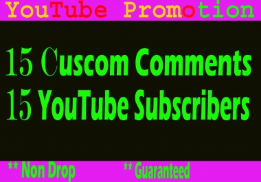 Special  Offer Guaranteed 25 YouTube Custom comments and 25 Subscribers