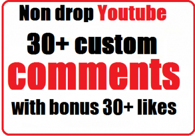 Non drop 30+ Youtube Custom Comments with profile picture and bonus 30+ likes very fast