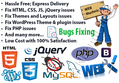 fix html, css, js, jquery, php, wordpress issues