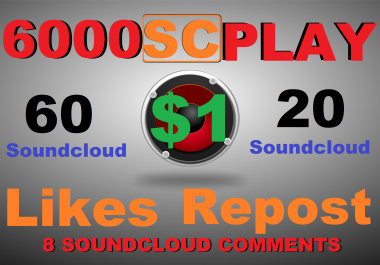 6000 soundcloud play+60 like+20 repost+8 comments