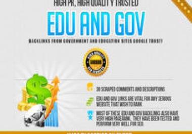 cheap manually 50 high PR edu and gov + 10 high DA backlinks fast