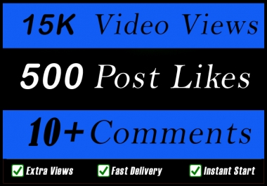 World Wide 15000 Video Views Promotion Or 500 Likes Or 10 Comments for Social media Marketing