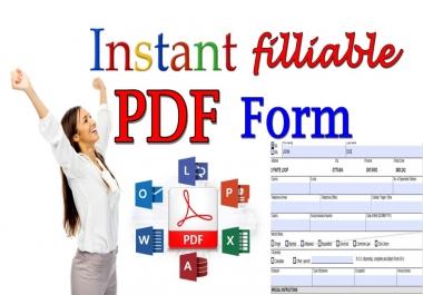 Create Instant Filliable PDF Form