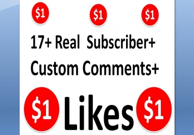 17+ non-drop youtube subscribers+17+Custom comments+17+ likes
