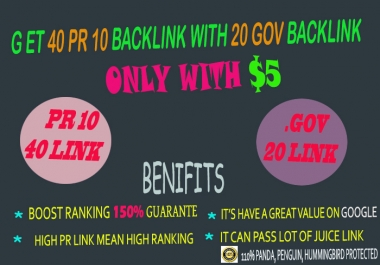 40 PR10  & 20 EDU/EDU Backlinks From Authority Domains