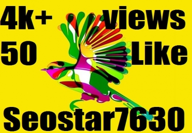 Live 4k/ 4.000 YouTube Views +50 Video Likes +20 Channel Subscriber only