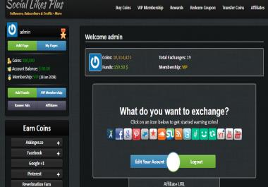 Social Exchange Website 100,000 Points