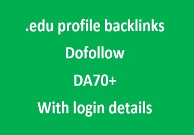 I'll provide 10 dofollow .edu profile backlinks(manual) of DA70+