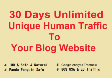 Get 30 Days Unlimited Unique human Traffic To Your blog website from search engines