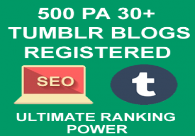 500 PA 30+ Tumblr Blogs Registered