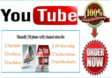 Manually 400 phone verify YouTube channel subscribe fast Delivery