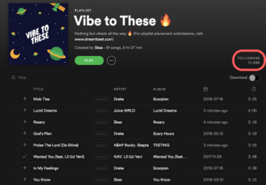 Add Your Track To 70k followers Spotify Playlist (2 weeks placement)