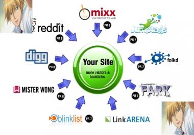 Manually Do TOP 5+ PR9 to PR6 Safe High Alexa Rank Social Bookmark Backlinks