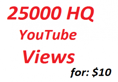25000 High Quality YouTube Views 20 custom Comments+ 100 likes