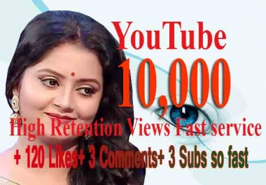 YouTube 3000 views +120 Likes+10 Comments+8 Subscribers