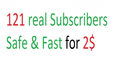 Safe & Fast 121+ Real You tube subscribers 24 hours Delivery