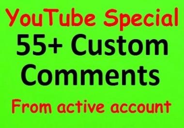55+ YouTube Custom Comments with 200 likes bonus non-drop guaranteed