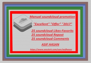 Real Manual soundcloud promotion 25 soundcloud likes-favorits+repost+comments