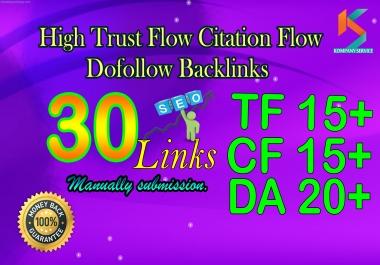 Make 30 Hight Trust Flow Manual Dofollow Backlinks