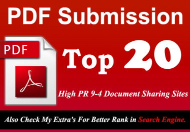 Manually Submit your Any Article in pdf Submission to Top 20 High PR 9 to 4 doc Sharing sites