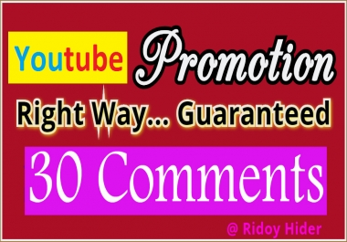 Guaranteed Real 30 YouTube Custom comments from UK/USA users