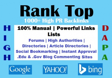 1000+ High PR9-3 Most Powerful Backlinks' Lists to Rank High Your Site #1 In Google, Yahoo, Bing etc.