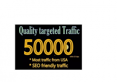 Quality Targeted Traffic 50K within 25 days