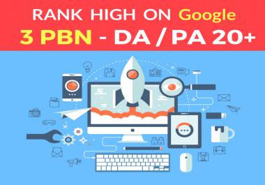 I provide You Spam Free 3 PBN Posts High Metrics Domains Unique Content