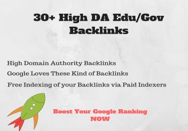 30+ High DA Edu/Gov DoFollow Backlinks with Free Indexing
