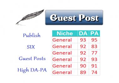 Publish 6 Guest Posts on GENERAL Niche DA>80 Content Marketing SEO Link Building