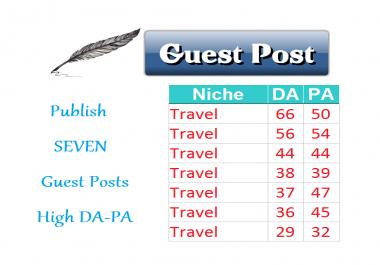 Publish 7 Guest Posts TRAVEL Niche Sites Links Building SEO Content Martketing