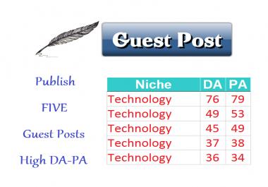 Publish 5 Guest Posts TECHNOLOGY Niche Links Building SEO Content Marketing