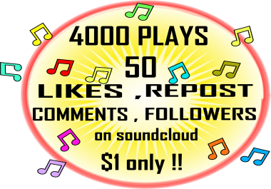 Soundcloud permanent 4k plays 50 Likes + Reposts + Comments + Followers