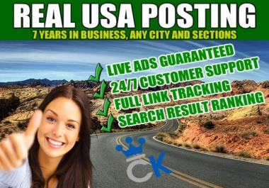 CRAIGSLIST AD POSTING 50 Ads Live Guaranteed FREE IMAGES