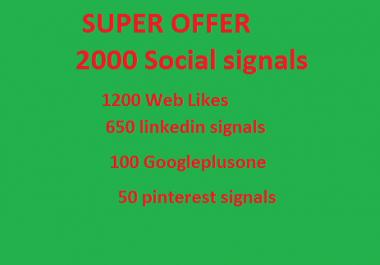 Super offer 2000 HQ Mixed Seo Social Signals from PR9 Googleplus Linkedin pinterest