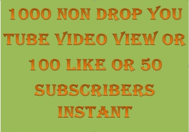 1000+ You Tube non drop video view or 200+ like