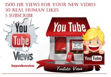1000 HR YouTube views +50 High Quality likes