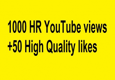 1000 HR YouTube views +50 High Quality likes